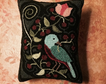 Primitive Needle Punch Pillow ~ Blue Bird On A Berry Branch
