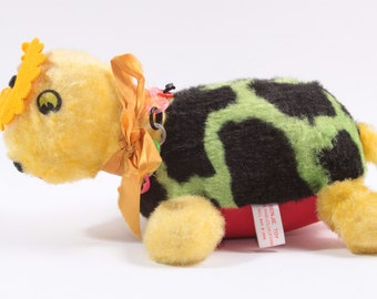 Vintage 1960s Sawdust Novelty Plush Turtle Benjie Toy With Flower on Head