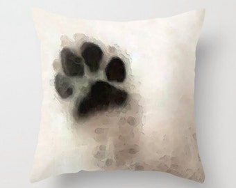 Dog Throw Pillow Dog Paw Art COVER Design Pet Animal Lover Black And White Furry Gift Bed Couch Decor Decorating Living Room Bedroom Bedding