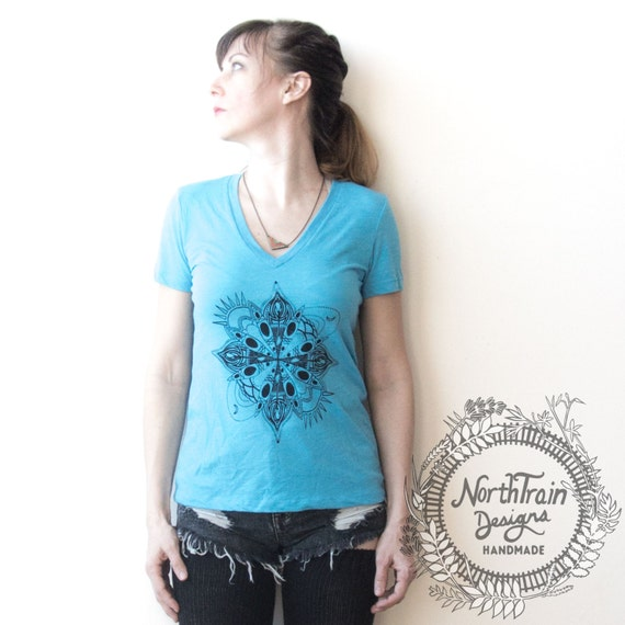 Kayak Mandala River Women's V-Neck tee