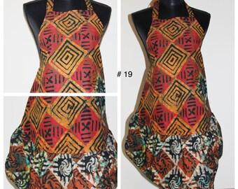 Apron with ruffle African Batik Wax Print Ankara OOAK