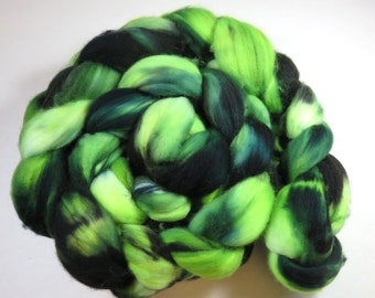 Hand Dyed Superwash Merino Combed Top, Spinning Fiber, Roving -- Manic Melon (120 grams or 4.2 ounces )