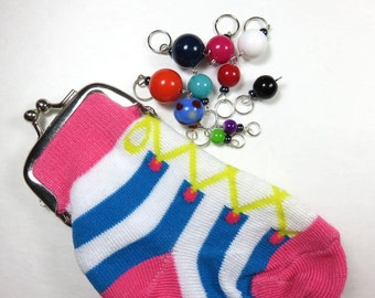 Hand Made Stitch Markers -- Sock Bag with 10 Assorted Gumballs