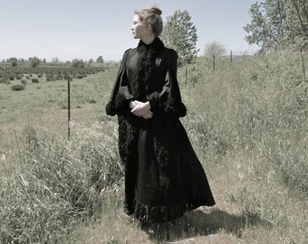Victorian Mourning Mantle Cape Cloak XS to S