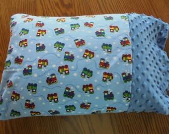 Train Pillowcase, WEEKEND SALE!!, Minky Pillowcase, Boys Minkee Pillowcase, Toddler Pillowcase, Travel Pillowcase
