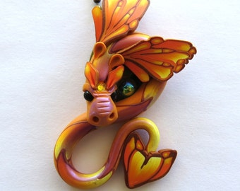 Tangerine Dragon with Purple Shimmer Necklace, Fairy Rider, Miniature Polymer Clay Dragon Pendant