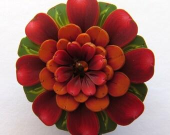 Red and Orange Flower ID Badge Reel, Scissor Keeper, ID Lanyard, Scissor Fob