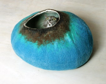 Cat Cave / Bed / House / Vessel - Hand Felted Wool - Turquoise Brown Bubble - Crisp Contemporary Design -- READY TO SHIP