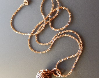Copper Cupcake Necklace Solid Copper Cupcake Charm with Sterling Silver 16 inch Chain