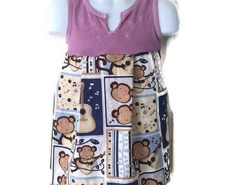 Girls Music Making Monkey Tank Dress, Guitar Monkey Dress, Size 4T/5, Handmade Dress, Toddler Dress by We Wear What We Want!