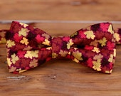 Boys Bow Tie - Fall Leaves on Cotton, bowtie for infant toddler child baby kid, little boy bow tie, burgundy bow tie, gold bow tie, gift tie