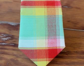 Kids Madras plaid necktie, boys wedding neckties, green red yellow plaid necktie, baby toddler cotton tie,  smash cake birthday tie, gift