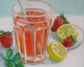 Reserved for Cheryl Strawberry Lemonade paintings by Polly Jones