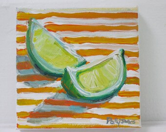 Slices on Stripes original acrylic still life painting by Polly Jones