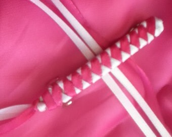 Braided Ribbon Barrette / Hot Pink and White
