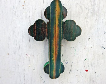 Rustic Cross, Salvaged Wood Wall Cross, Distressed  Cross, Serbian Orthodox Cross Boho Cross, Wooden Cross Salvaged Wood Cross Green Cross