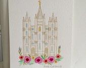 Salt Lake Temple Original Watercolor 5x7.