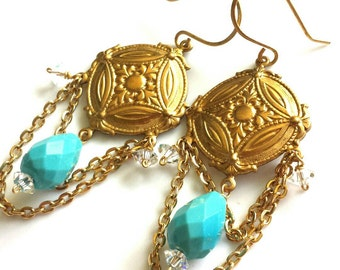 Turquoise Chandelier Earrings with Swarovski Crystal - Bohemian Boho Style