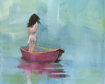 A Moment - Original Acrylic Painting of a girl standing on a pink boat in the sea seascape blue girl room nursery