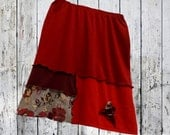3X Colorblock Sweater Skirt Eco Friendly Floral Plus Fashion Art To Wear Recycled XXXL Red