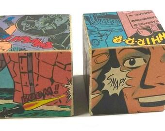 Stocking Stuffer for Tween, Comic Book Desk Art, Geeky Teen Gift, Desk Accessories, Comic Gift, Office Desk Decor, Dorm Room Art