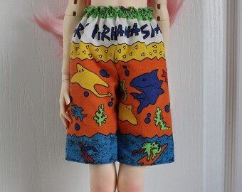 Board Shorts for 60cm BJD, Shark Piranha, so very 1990s