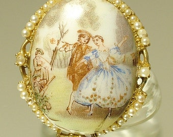 Vintage/ estate 1950s/ 60s Limoges style and gilt metal costume brooch / pin - jewelry jewellery