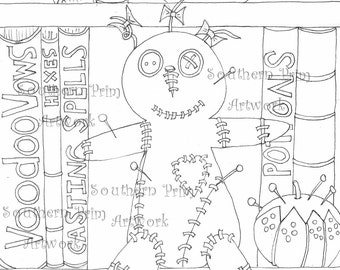 Voodoo Doll Hoodoo Adult Coloring Pages Pattern Stitchery Doodle