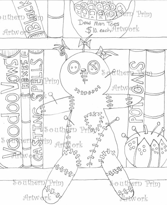 Voodoo Doll Hoodoo Adult Coloring Pages Pattern