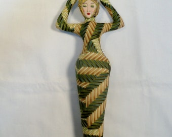 10 in. EARTH tones Goddess cloth art doll form w/face cab You finish her Bead Decorate