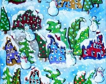 Snowman Houses Christmas Trees Winter Holiday Snow Whimsical Colorful Folk Art Giclee Print