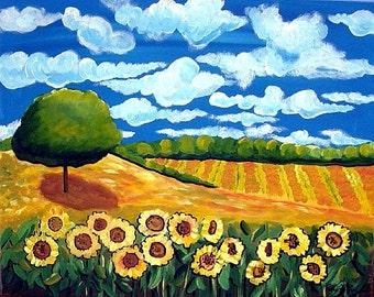 Whimsical Colorful Sunflower Landscape Blue Sky Folk Art Print Giclee