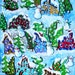 Snowman Houses Christmas Trees Winter Holiday Snow Whimsical Colorful Folk Art Giclee Print