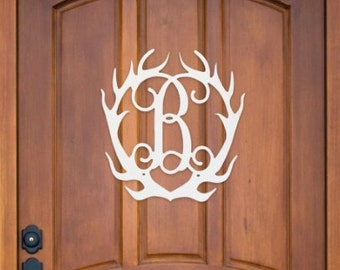 Wood Antlers - 18 inch - Unpainted - Painted - Home Decor - DIY - Paint your own - MDF Wood Antlers Monogram