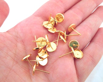 8mm Gold Bezel Stud Earrings, pick your amount, C159