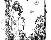Downloadable coloring page Ostara Easter fantasy art nouveau with bunnies