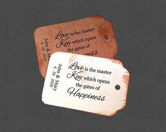 Love is the Key To Happiness Tags, vintage card, distressed tag, 50 Wedding Tags, Personalized Tags
