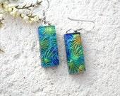 Blue Green Gold  Earrings, Dichroic Glass Earrings, Fused Glass Jewelry, Dichroic Jewelry, Dangle Drop Earrings, Sterling, 021316e101