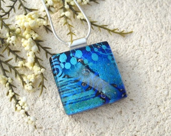Black Aqua Blue Necklace, Dichroic Glass Necklace, Fused Glass Jewelry, Dichroic Jewelry,Glass Jewelry, Necklace Included 102315p115