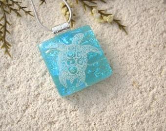 Small Sea Turtle, Fused Glass Pendant, Dichroic Fused Glass Jewelry, Fused Glass Necklace , Sea Life Necklace, Turtle Necklace  061016p102