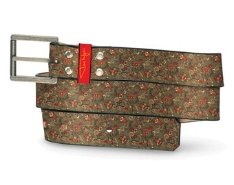 Secret Garden Leather Belt, Secret Leather Belt, Garden Belt, Flowers Leather Belt, Floral