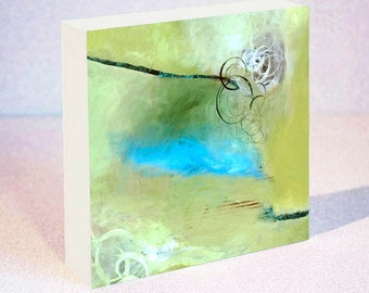 Green Abstract Painting on Wood Block in 6x6, 8x8 or 10x10