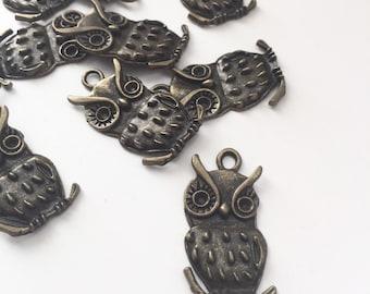 FIVE Brass Owl Pendants - Owl Charms