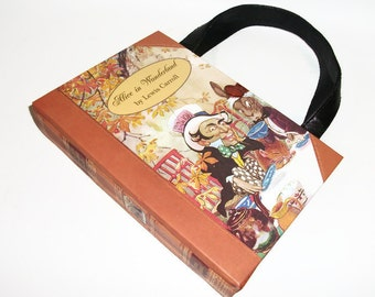 Book Purse Alice In Wonderland Book Handbag, Fashion Accessories, Altered Recycled Book, Upcycled Handmade Clutch
