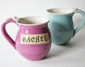 One Personalized Mug,  Made To Order, Stamped Name of your Choice - 8 week wait