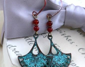 Mykonos Fan Earrings, brass with patina finish with Carnelian beads