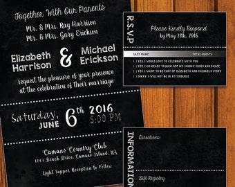 Black Chalkboard Invitation / Chalkboard Wedding Suite / Inviation Suite / chalkboard / black / chalk / Anniversary