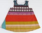 Ruby Stripes Linen & Cotton Girls Dress - Size 12 - 18 Months - Baby Dress, Toddler Dress - Geometric Stripe Dress Purple, Mustard, Red