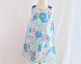 Blue & Purple Watercolor Floral Girls' Dress - Sizes Newborn to Girls'  Size 6 - Children's Clothing, Girls Summer Sundress, Aprilscott
