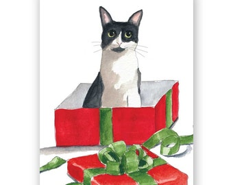 Set of 12 - Cat in Holiday Box Card